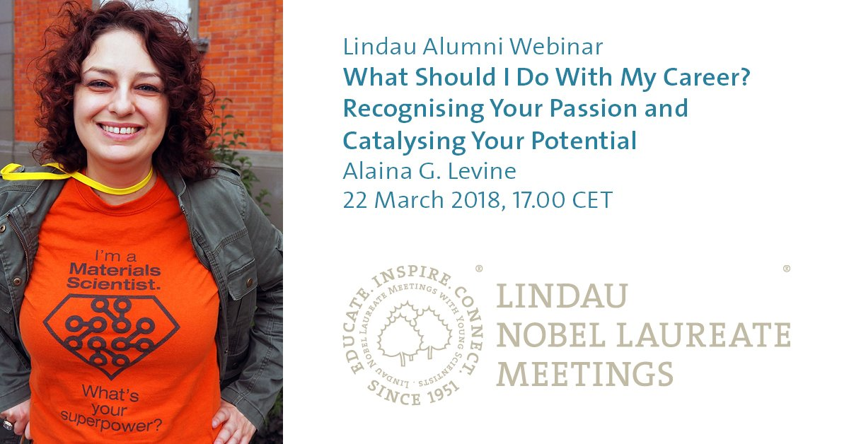 """test Twitter Media - Lindau Alumni can still register for our first ever #webinar: """"What Should I Do With My Career? Recognising Your Passion and Catalysing Your Potential"""" with @AlainaGLevine This Thursday, 22 March 2018, 17.00 CET. Register here: https://t.co/SpHCYnUOhN #LiNo18 #science #career https://t.co/dTD23irWsX"""