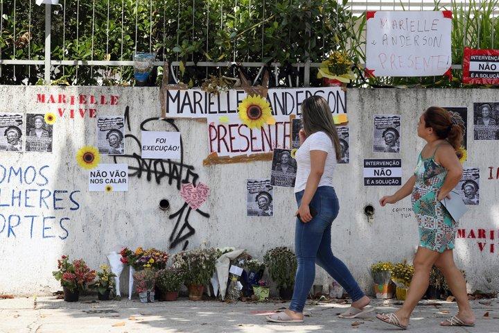 @BroadcastImagem: Homenagens e protestos no local onde Marielle Franco e Anderson Gomes foram mortos no Rio. Wilton Jr/Estadão