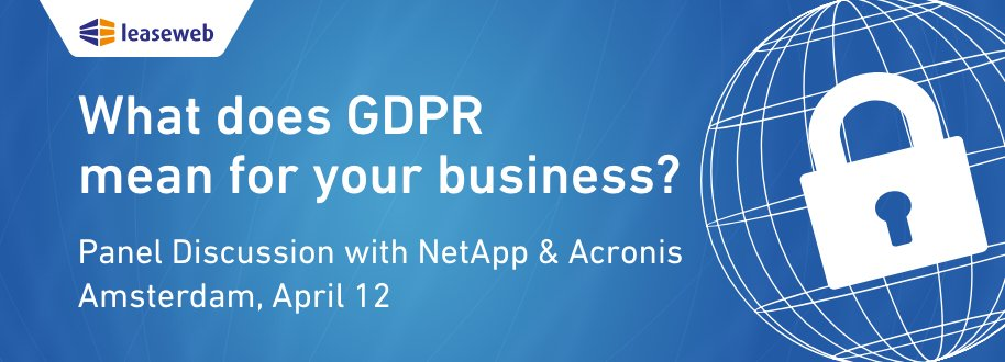 test Twitter Media - What does #GDPR mean for your business? Join the conversation receive advice and ask questions with @Leaseweb, @NetApp, @brenno and @Acronis on April 12th! https://t.co/tSrxevkhRw #Discussion #Cloud #DataSecurity https://t.co/pxXifp6yGu