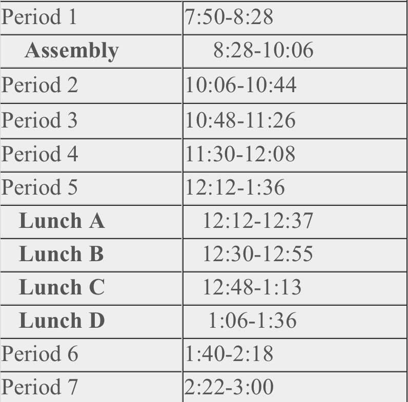 No SMART Time today. Follow assembly schedule below. https://t.co/BnkgPCpTHQ