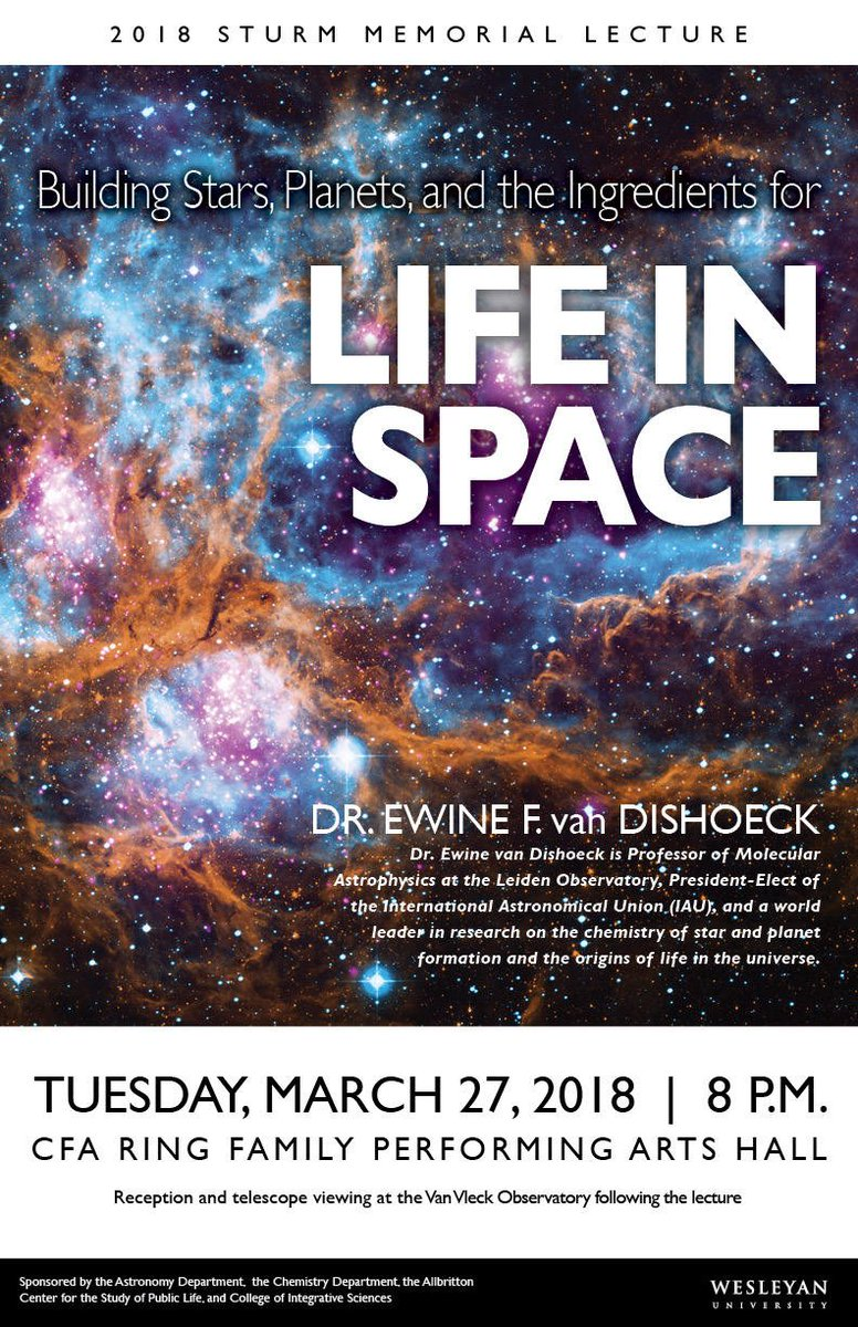 "test Twitter Media - Join @WesAstro for its annual Sturm Lecture on March 27. This year's speaker is Dr. Ewine van Dishoeck on ""Building Stars, Planets, and the Ingredients for Life In Space."" Free + open to the public. Followed by reception + telescope viewing: https://t.co/COeu8lQC71 https://t.co/BnSM3hpkVm"