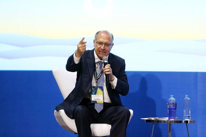 @BroadcastImagem: No Fórum da Água, Alckmin defende o fim da tributação federal sobre saneamento. André Dusek/Estadão