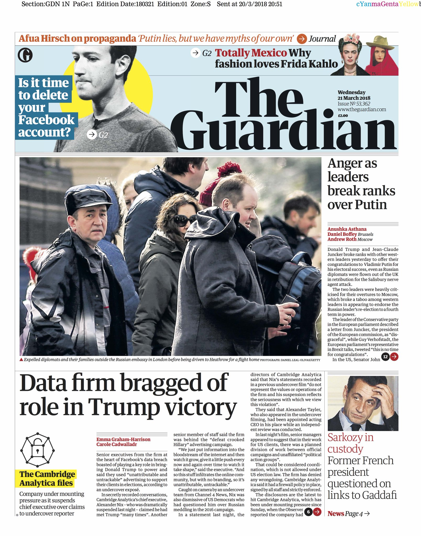 Guardian front page, Wednesday 21 March 2018: Data firm bragged of role in Trump victory https://t.co/KyEZpAGTOe