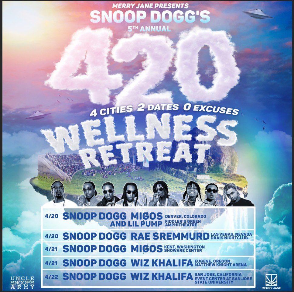 Joining @snoopdogg on the #WellnessRetreat Tour in San Jose and Eugene ����https://t.co/nhhYnbk6Xh https://t.co/TM4YyIXQNU