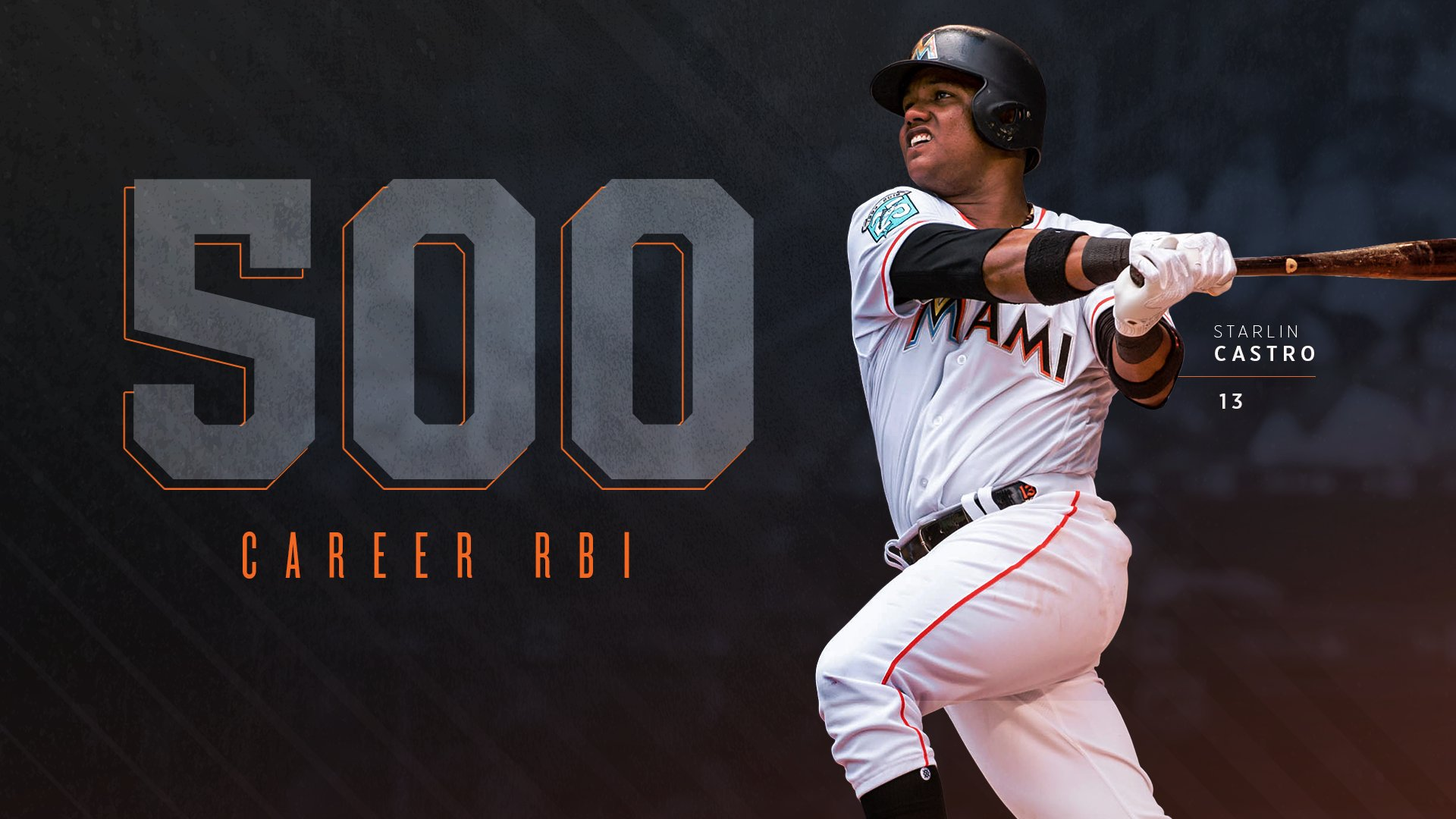 Last night, Starlin Castro reached 500 career RBI.  Congratulations, Starlin! �� https://t.co/sTpQDDc4Ih