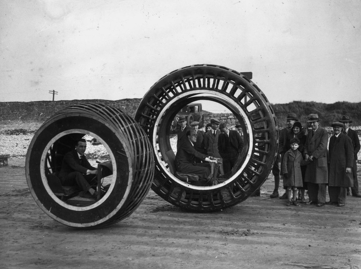 Rolling into the #weekend like these gentlemen testing out 'Dynasphere' wheels in 1932. The inventor, Dr J A Purves of Taunton, hoped to revolutionize modern transport with this invention. #HistoryInvented