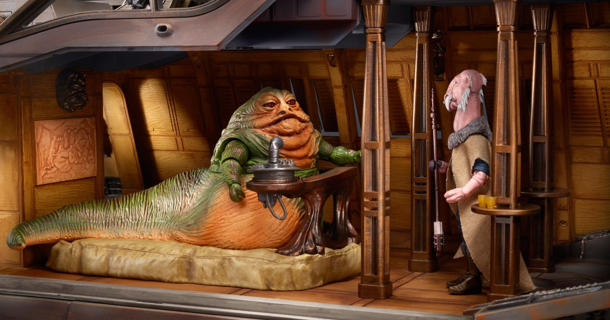 Venture into Hasbro's massive new toy version of Jabba's sail barge: