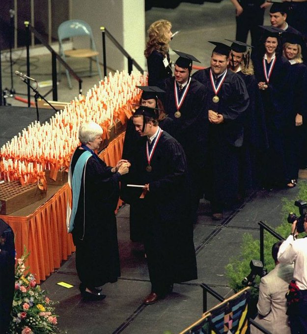 (1997) Peyton Manning receiving his diploma from Tennessee.   Happy birthday Peyton!