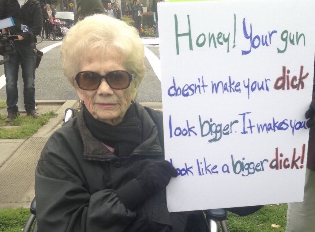RT @skeletorOG: Granny bringing that 🔥  🔎🍆  #marchforourlives #guncontrolnow #todayistandupfor https://t.co/EhavGqXv0i