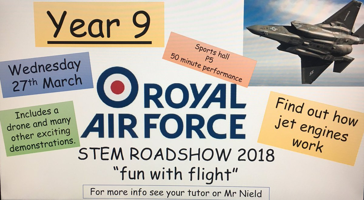 test Twitter Media - We are excited to announce that the RAF will be giving a jet fuelled performance to our year 9 pupils on Wednesday 27th March. #STEM #RAF #careers #engineering #nottobemissed https://t.co/XpOflJlsA9