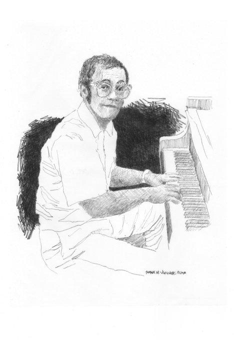 Happy Birthday Sir Elton John - graphite on recycled paper
