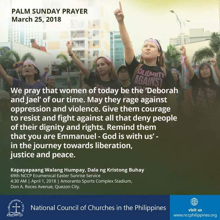 RT @NCCPhils: Prayer for Women. #NCCPEasterSunrise #PalmSunday #FaithInWomen https://t.co/CIcuqMPxGB