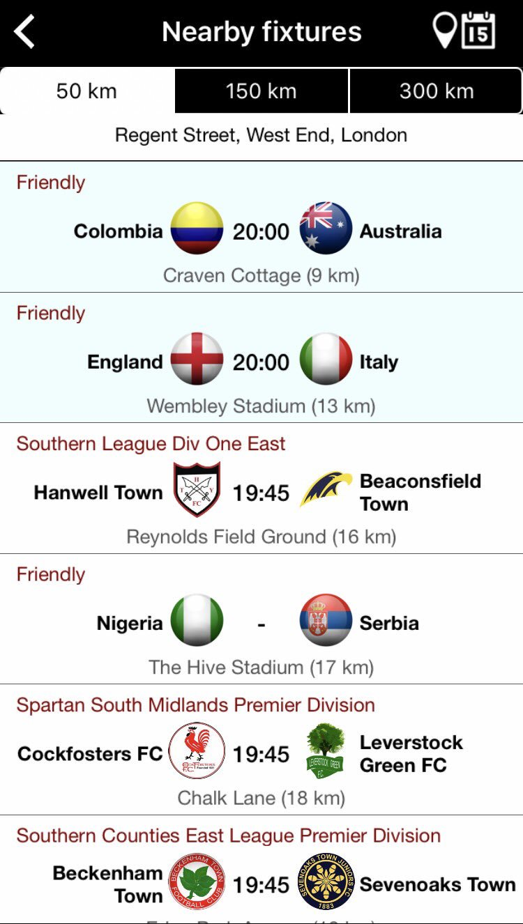 Fair to say there's two distinct types of match on offer in London tonight (from the excellent @GroundhopperApp) https://t.co/FuTcJB5XWZ
