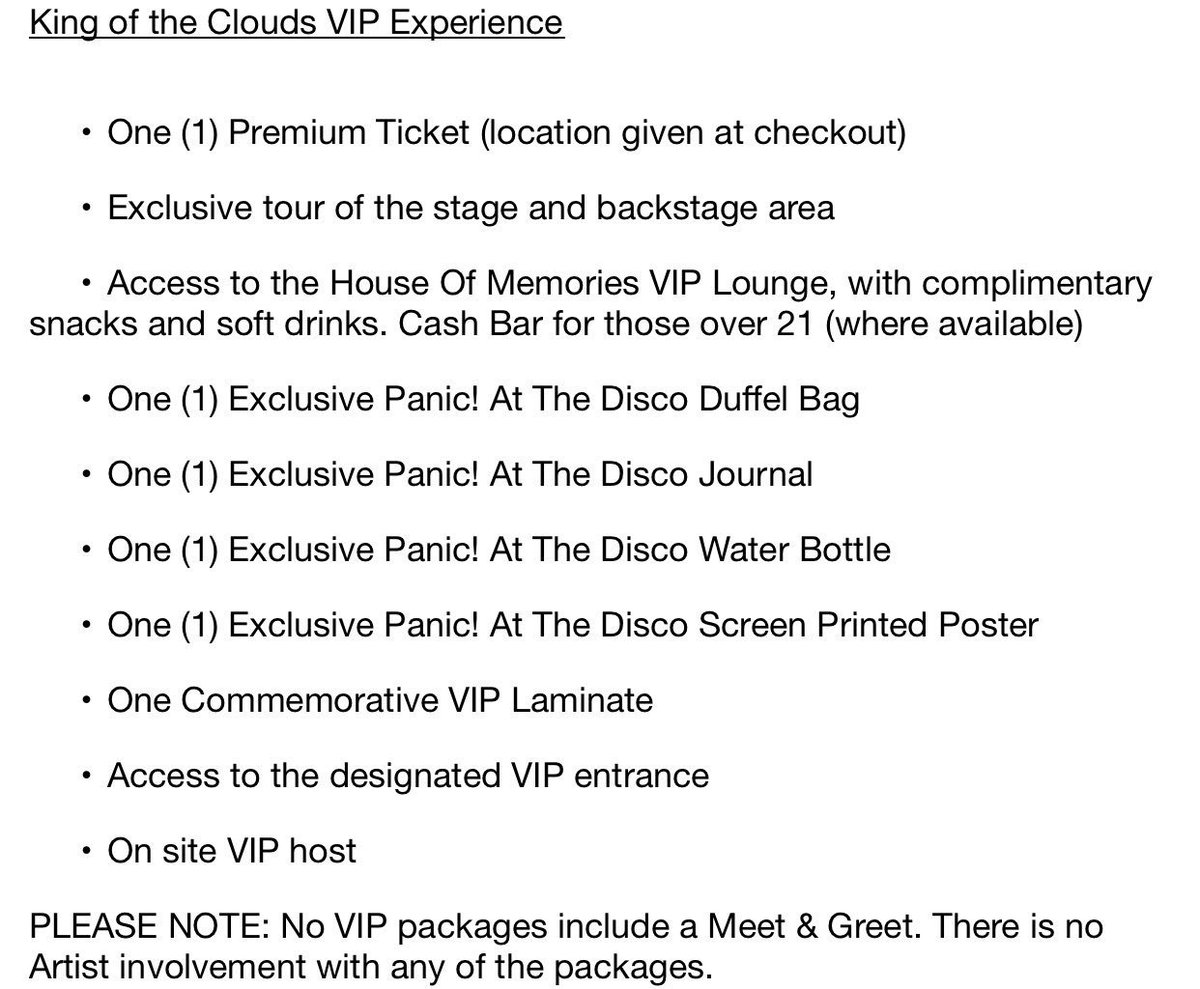 Panic at the disco summer tour vip yoktravels panic updating on twitter here is what included in each vip m4hsunfo