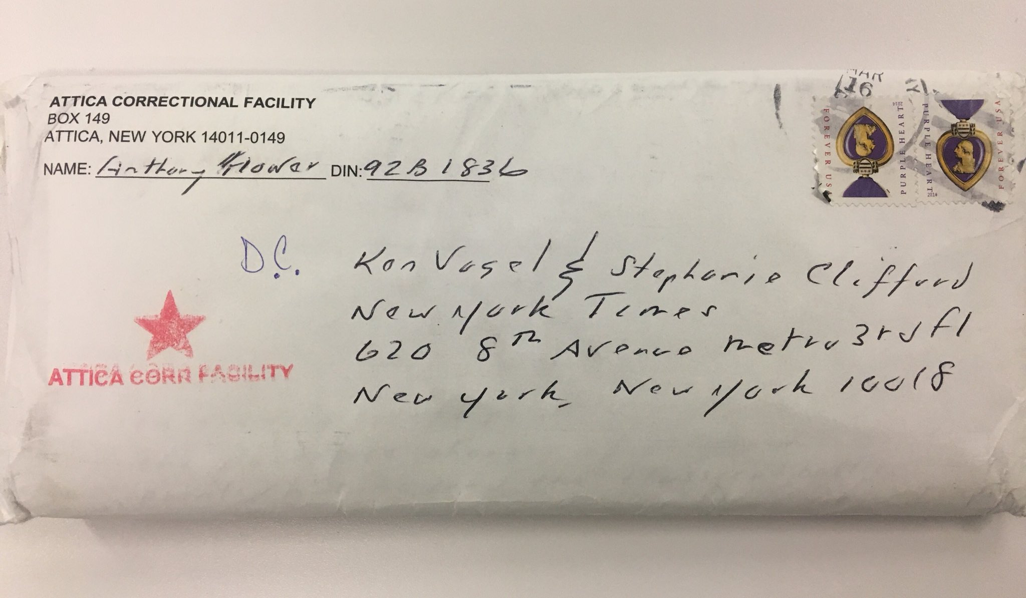 When you get a letter from an inmate at Attica addressed to you and Stephanie Clifford. https://t.co/EgJaOZ4N3F