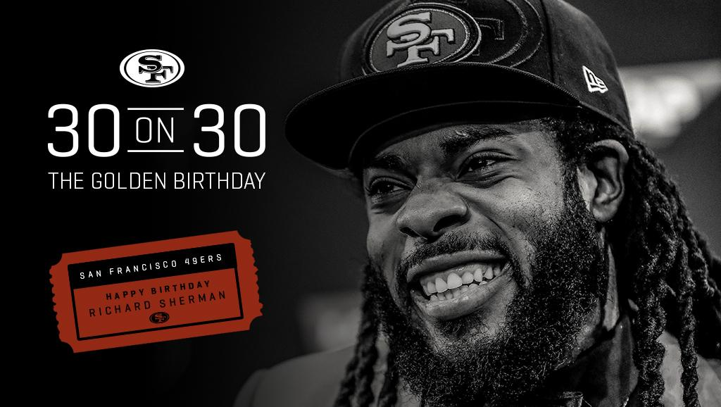 What if we told you @RSherman_25's 30th birthday is on the 30th day of March.  Happy 'golden' birthday, Sherm! https://t.co/37DoBDDt2u