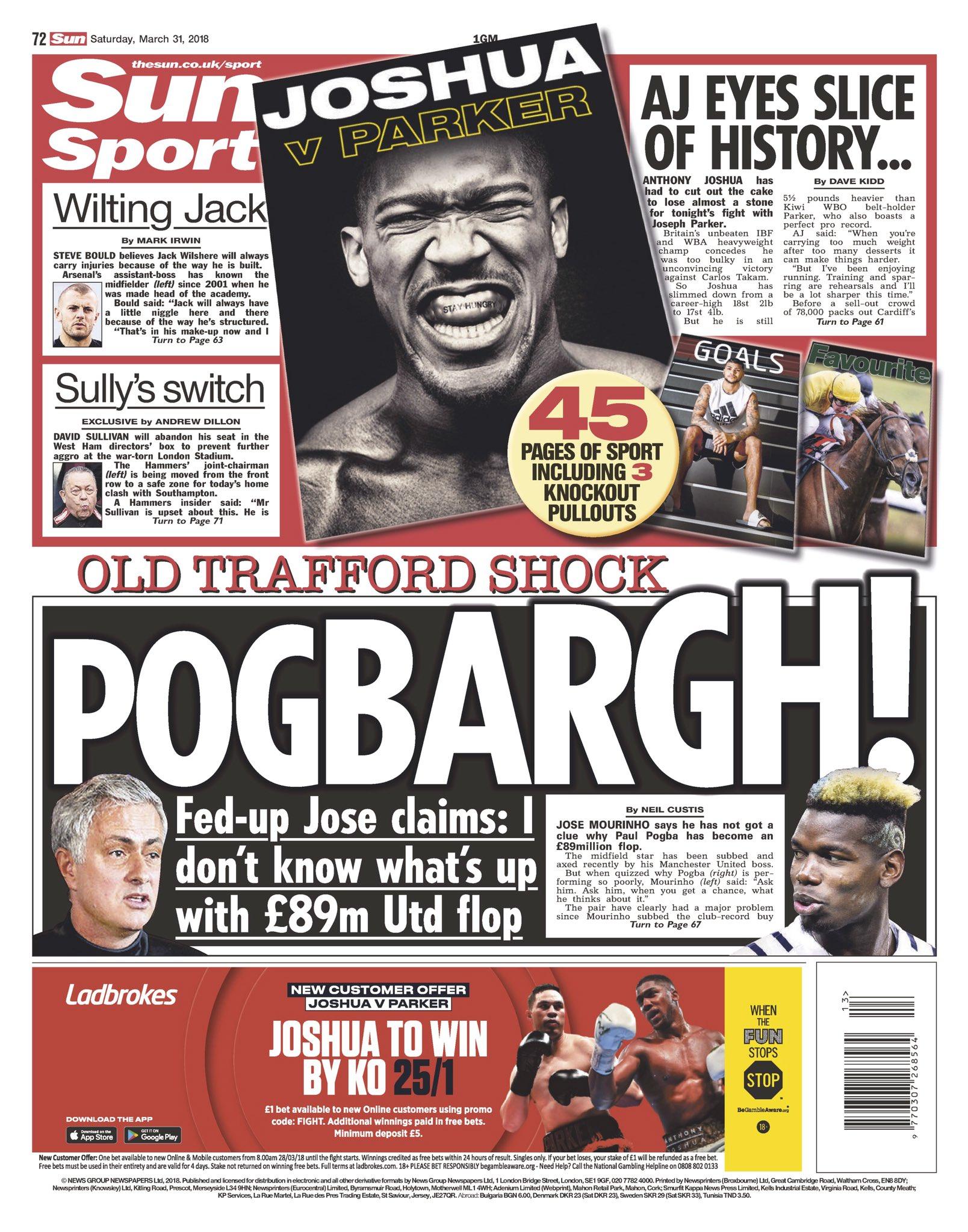 "Saturday's Sun sport: ""Pogbargh!"" #tomorrowspaperstoday https://t.co/CAVEajBKXD"
