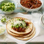 Smoked chilli pork tacos with apple and avocado salsa