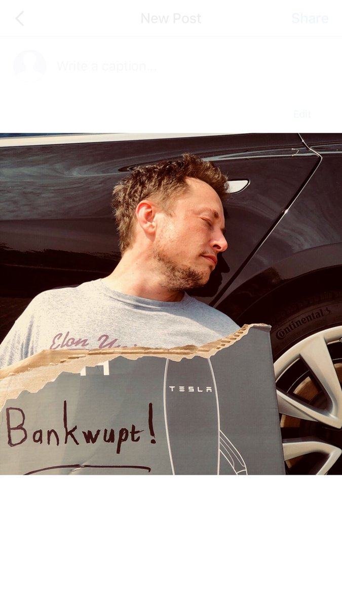 """Elon was found passed out against a Tesla Model 3, surrounded by """"Teslaquilla"""" bottles, the tracks of dried tears still visible on his cheeks.   This is not a forward-looking statement, because, obviously, what's the point?  Happy New Month!"""