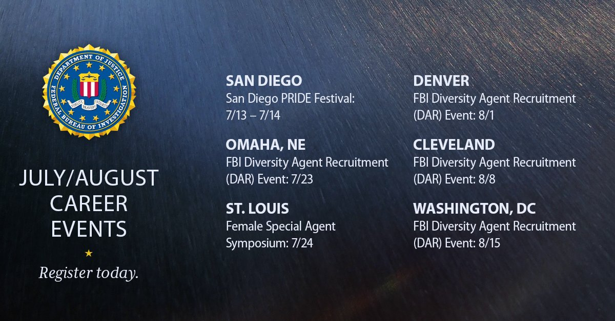 test Twitter Media - FBI recruiters attend events across the country to meet future Special Agents. We will be in San Diego and Omaha this month! #FBIJobs  https://t.co/c1qKAfdxMa  https://t.co/yZAYar40Em  https://t.co/15uowz6NIW  https://t.co/dR3sBlveux https://t.co/AptkjhQn77