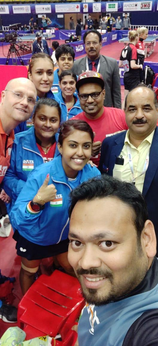 test Twitter Media - Really happy to win first ever historic gold medal in the Women's team event in Commonwealth Table Tennis Championship by defeating England 3-0 in the finals. Proud to be part of the Indian Women's TT team. Congratulations to our Men's team for winning gold in #CTTC2019.🇮🇳🏓 https://t.co/TIzdI5DFyn