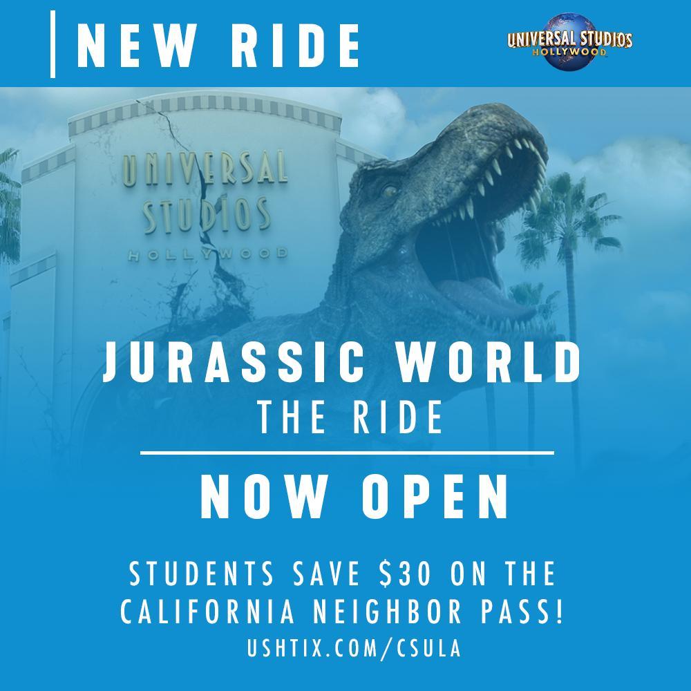 test Twitter Media - Universal Studios newest adventure, Jurassic World - The Ride! Save $30 on the California Neighbor Pass! https://t.co/PQdCTiAaXc #calstatela #asicalstatela https://t.co/v0IUYGhzaN