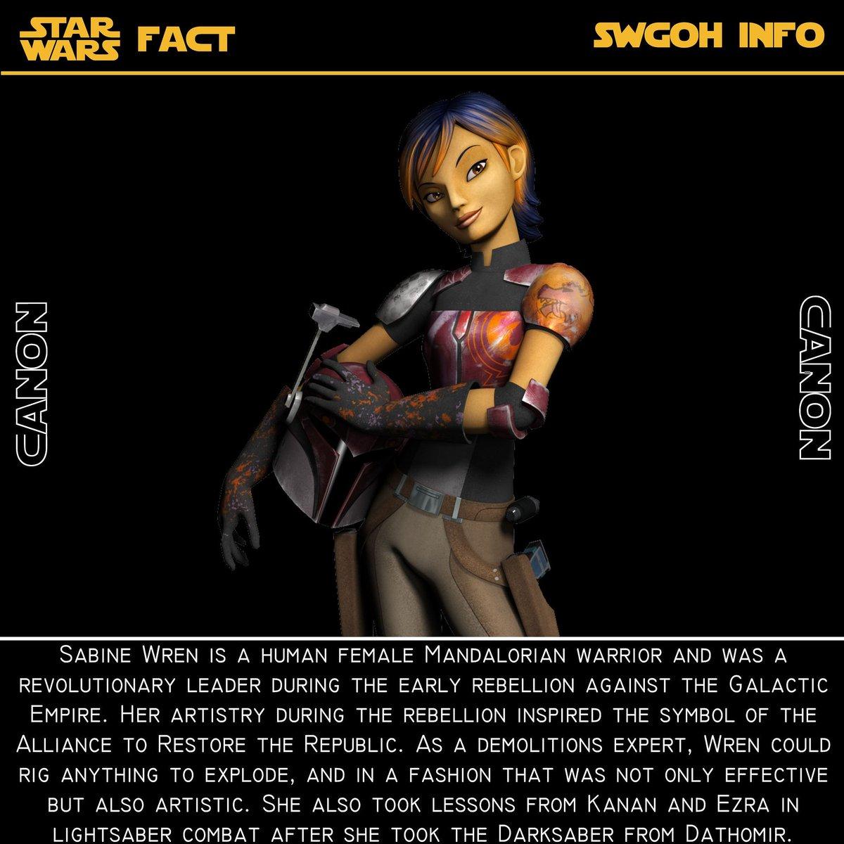 test Twitter Media - Fact #26 Sabine Wren - An artist, explosives expert and the Mandalorian Warrior #starwars #swgoh #galaxyofheroes #starwarsfact #swfact #Phoenix #rebels #sabinewren https://t.co/rqrMu9EF1s