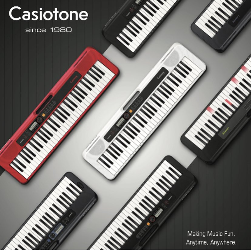 We are thrilled to announce a fresh new batch of Casiotone keyboards 🙌 CT-S200, CT-S300 and LK-S250 • 6 lbs • 61 keys • 400 tones • 77 rhythms • 50 patterns for Dance Music Mode • USB Midi 🎹 Making music fun. Anytime, anywhere. #casio #casiotone #music #namm @thenammshow https://t.co/XRdrSUrHal