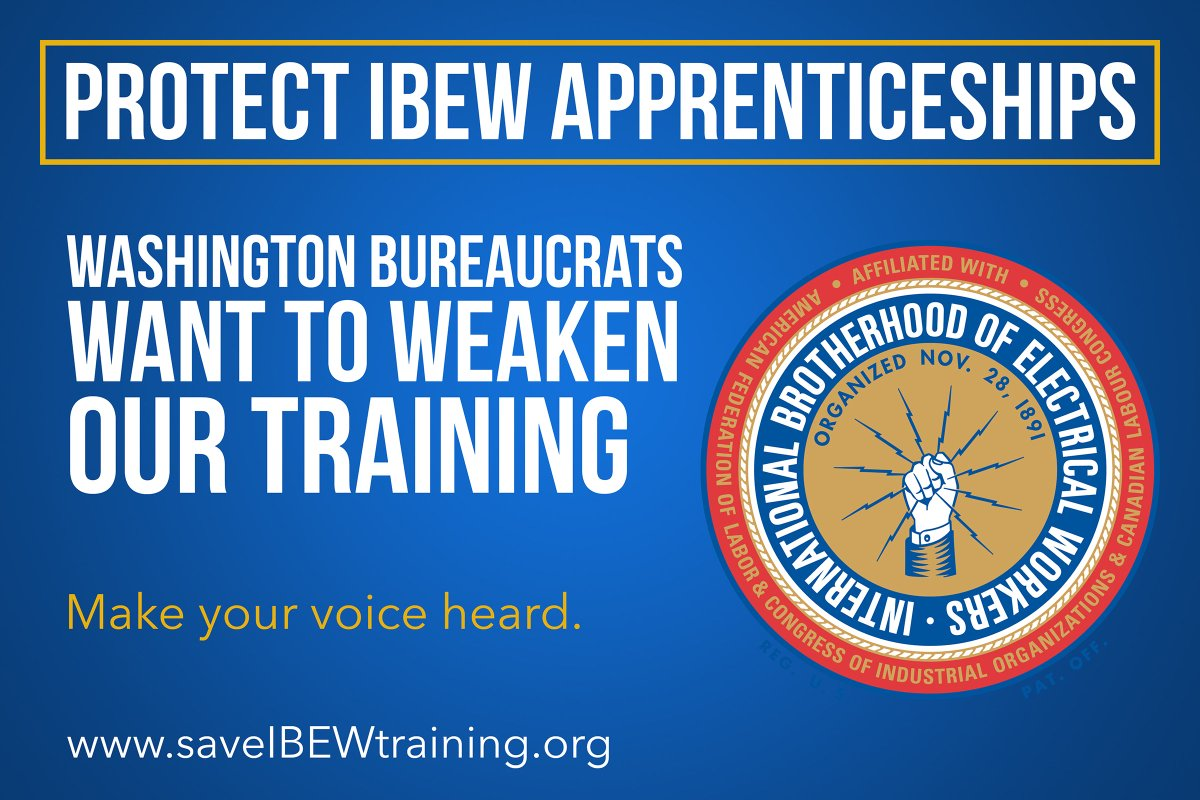 test Twitter Media - Bureaucrats in Washington are trying to destroy our apprenticeship program. Don't let them. IBEW members can stop the assault on our training. Click here to take action: https://t.co/LBu0c1RU2c https://t.co/YLfVVMzHCX
