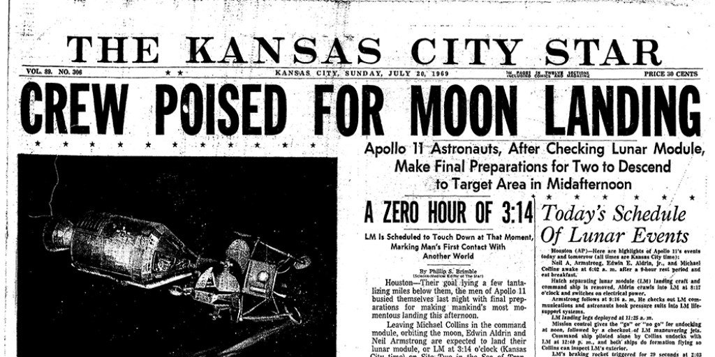 test Twitter Media - When the @KCStar was published on July 20, 1969 the astronauts had not yet landed on the moon. Here's the front page from that day 50 years ago. #MoonLanding50 #Apollo11 #Apollo50 #kchistory https://t.co/hJJZFUWInO