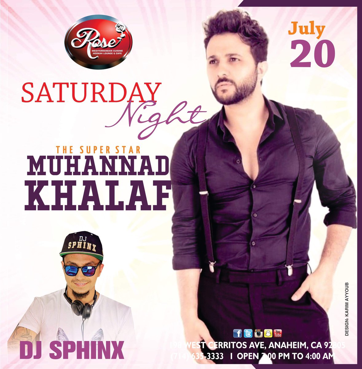 test Twitter Media - Come spend this Saturday Night with the Super Star Muhannad Khalaf🎤🎤, DJ Sphinx 🎧 and beautiful belly dancing 💃💃💃show !!  Because we love 😍 our customers we only bring you the best entertainment !!  RSVP 714-635-3333!! @ssa_csula @where2go_mag @Rosecafehookah https://t.co/A20L2arD8s