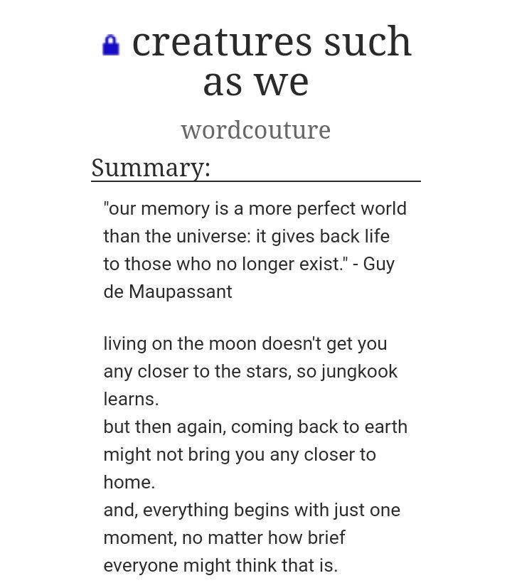 "test Twitter Media - ➳ ""Creatures such as We""  ➳ JiKook ➳ 11,812 words ➳  1 chapter  https://t.co/UjMOaKGeyv https://t.co/vCW4I0gOqv"