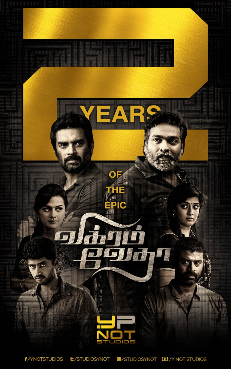 Two years of the epic #VikramVedha  @sash041075 @PushkarGayatri @VijaySethuOffl @ActorMadhavan @chakdyn @ShraddhaSrinath @varusarath @onlynikil