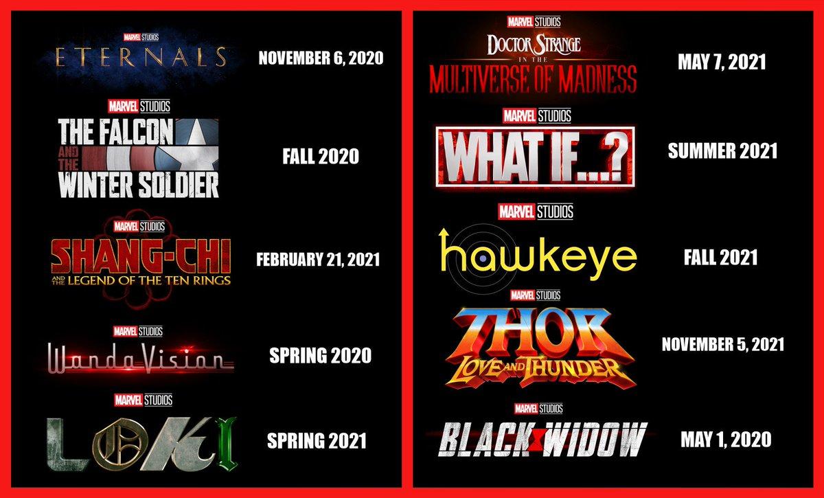 RT @Trendulkar: Marvel Phase 4 schedule is out. 🎯  https://t.co/wXsvCFJRlB https://t.co/aQjK4WG3JD