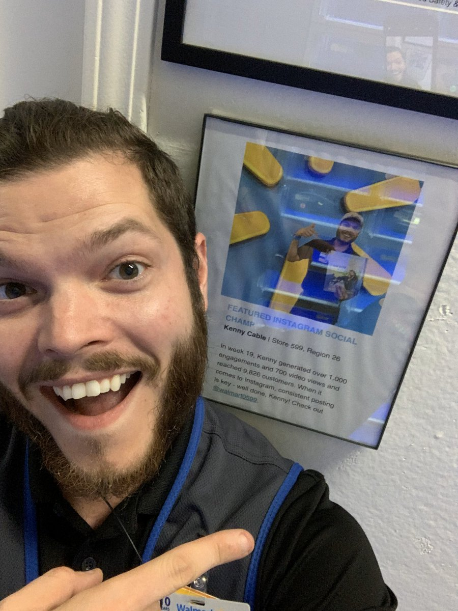 Super proud that my photo is hanging up on our Awards Wall! I enjoy bringing a smile to someone and getting to share their story with the world through Social Media! . #ChangingTheWorld #BeTheSpark #LiveSpark #TeamWalmart #MyWalmart #Walmart #ThisIsThatPlace #RiseChamps