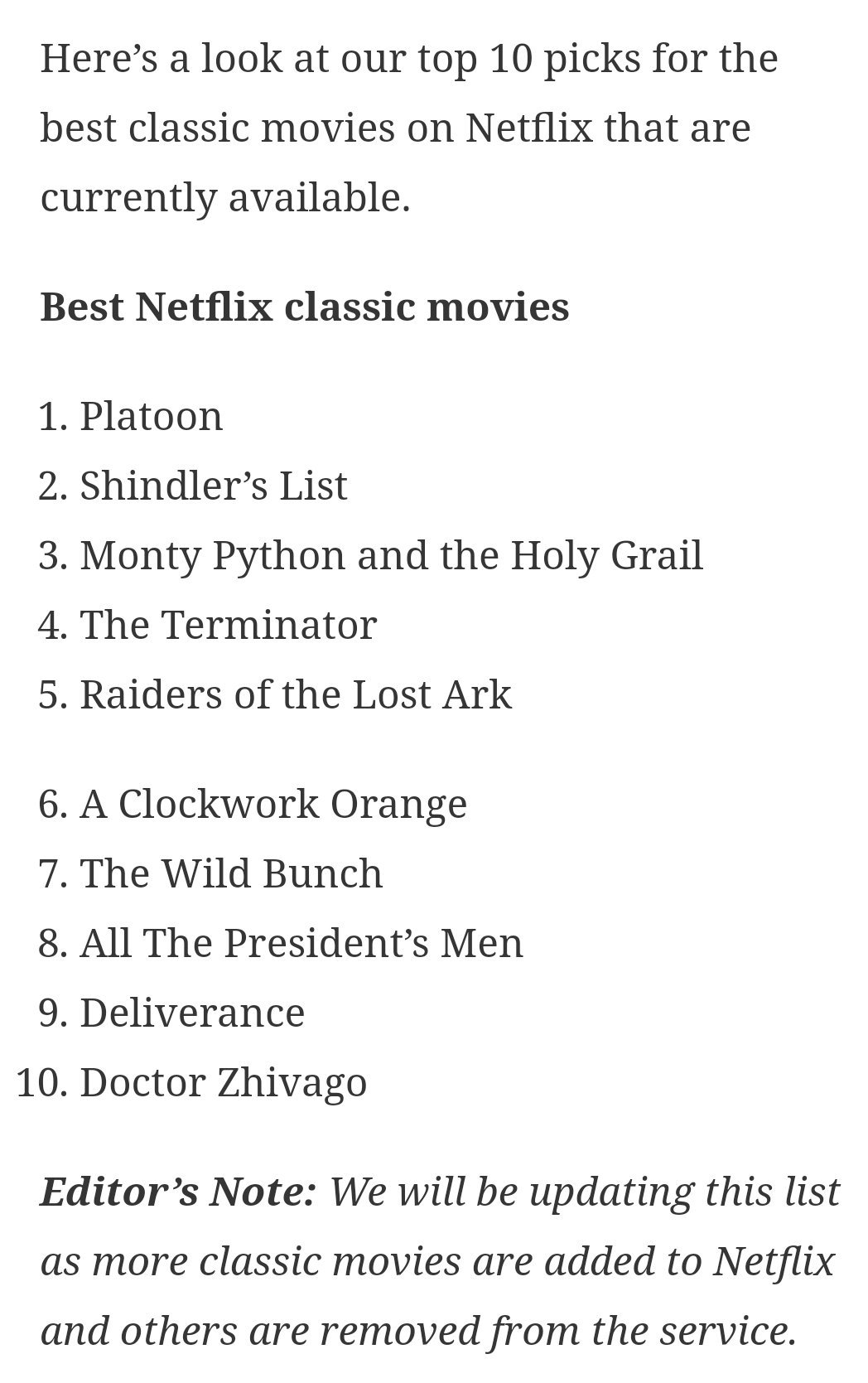 This article lists the 10 best classic movies on Netflix. As you can see, the movies go all the way back to 1965. Wow, 1965! https://t.co/LkTFUZ20xC