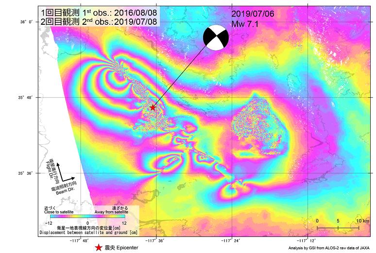 test ツイッターメディア - 【速報!SARがとらえた大地の動き】  SAR干渉解析により、アメリカ・カリフォルニア州で発生した地震(7/6、Mw7.1)に伴う地殻変動が検出されました。  詳細は地殻研HPへ→https://t.co/jfTAmsJeIW SAR干渉解析とは?→https://t.co/qWd8XbK6yz https://t.co/EezxLpdpWY