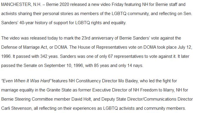 test Twitter Media - Just in to @WMUR9 - @BernieSanders campaign releases its 1st video, focusing on LGBTQ rights on 20th anniversary of Sanders' vote against DOMA. Features NH staffers including @MoBaxley & Carli Stevenson & NH supporter David Holt. #fitn #nhpolitics #WMUR https://t.co/Rkxac3GIKP https://t.co/jMRd9PWDBT