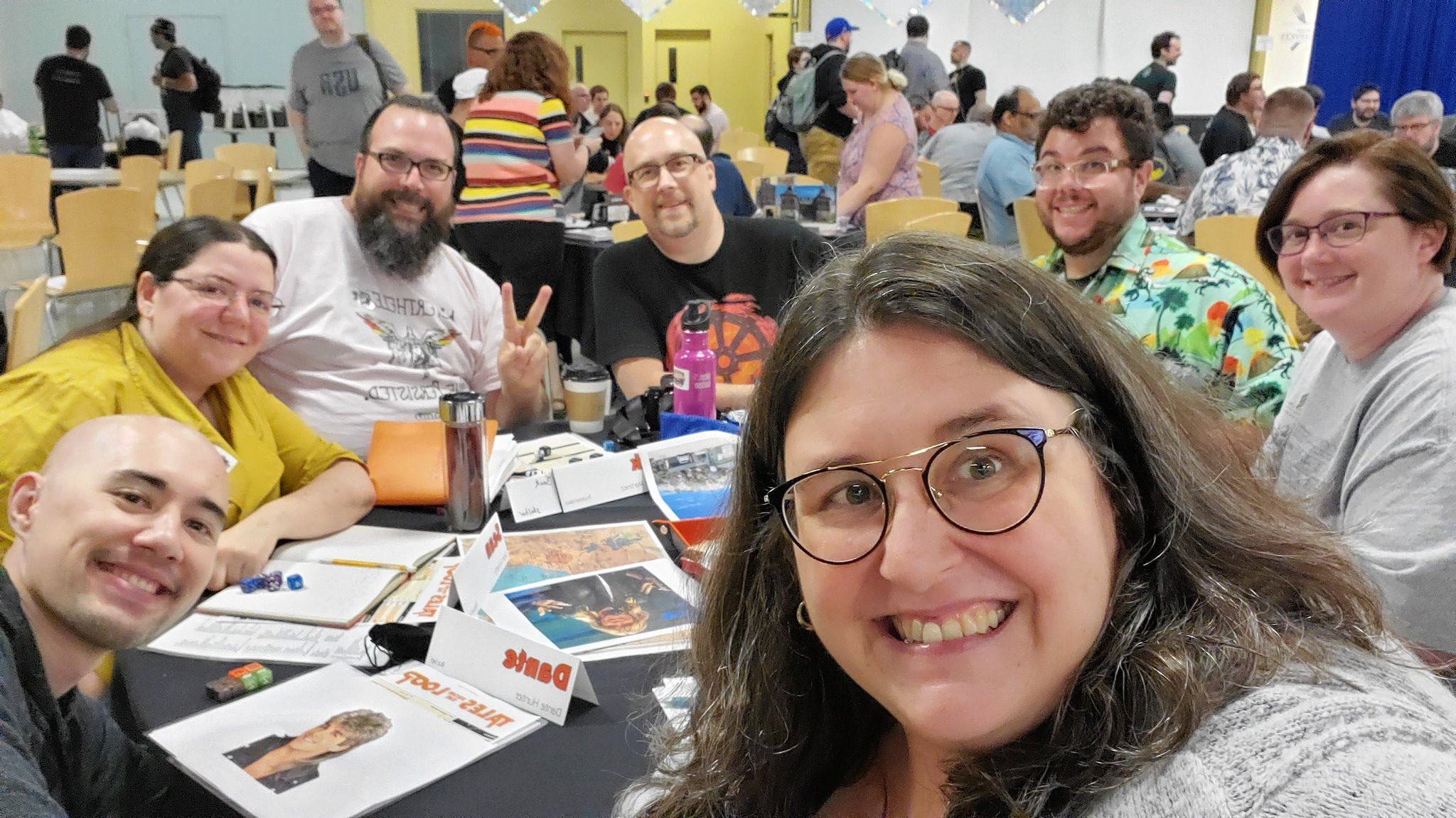 #tableselfie for my Tales from the Loop game. Fantastic group. They all nailed their characters and tp'd the bad guy's house. https://t.co/UgXHVKlK54