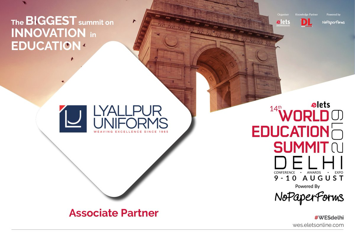 test Twitter Media - We are happy to have Lyallpur Uniforms on board as Associate Partner for 14th World Education Summit Delhi 2019, to be held on 9-10 August.  For more info, visit: https://t.co/7etrZvwH73  #Wes #education #WesDelhi @lyallpuruni https://t.co/tw5G0E1PkE