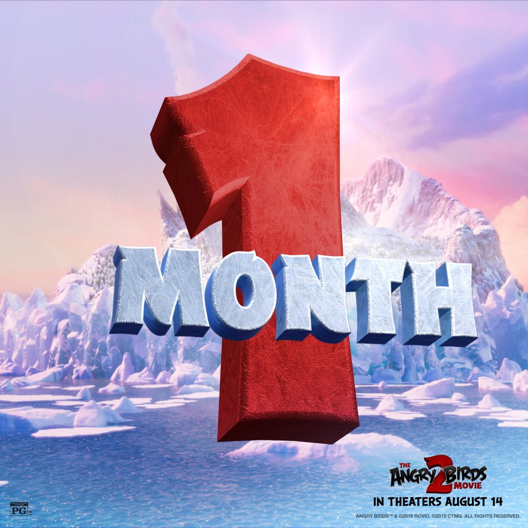 RT @AngryBirdsMovie: The #AngryBirdsMovie2 crew is breaking into theaters in just 1 MONTH! Don't miss it August 14! https://t.co/DO7UNuTtb4