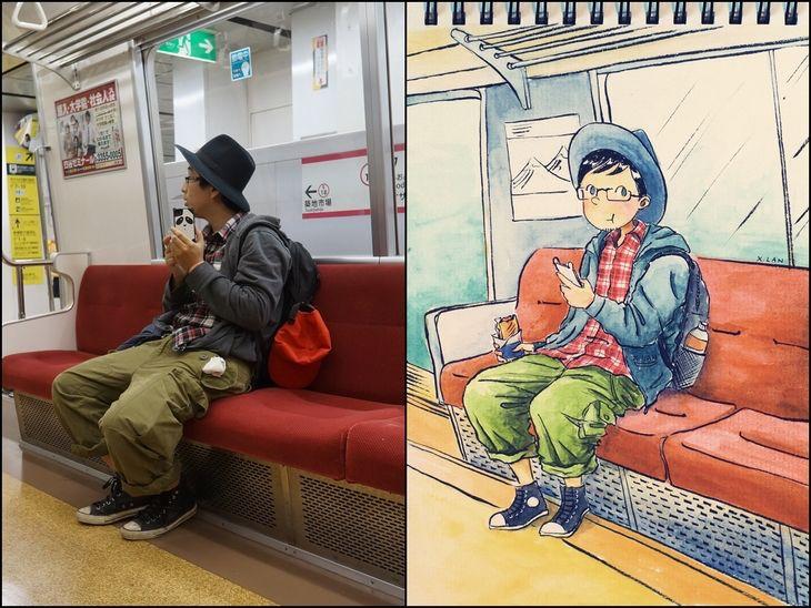 That time when em_trong cartoonized folks on the subway. https://t.co/lpwuuvFmZk ???? https://t.co/TWYznz6Jon