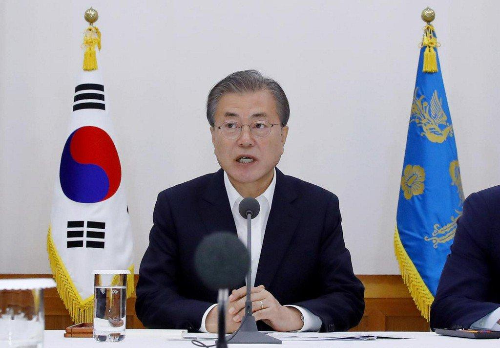South Korea's Moon calls Japan claim of North Korea sanctions breach 'grave challenge'