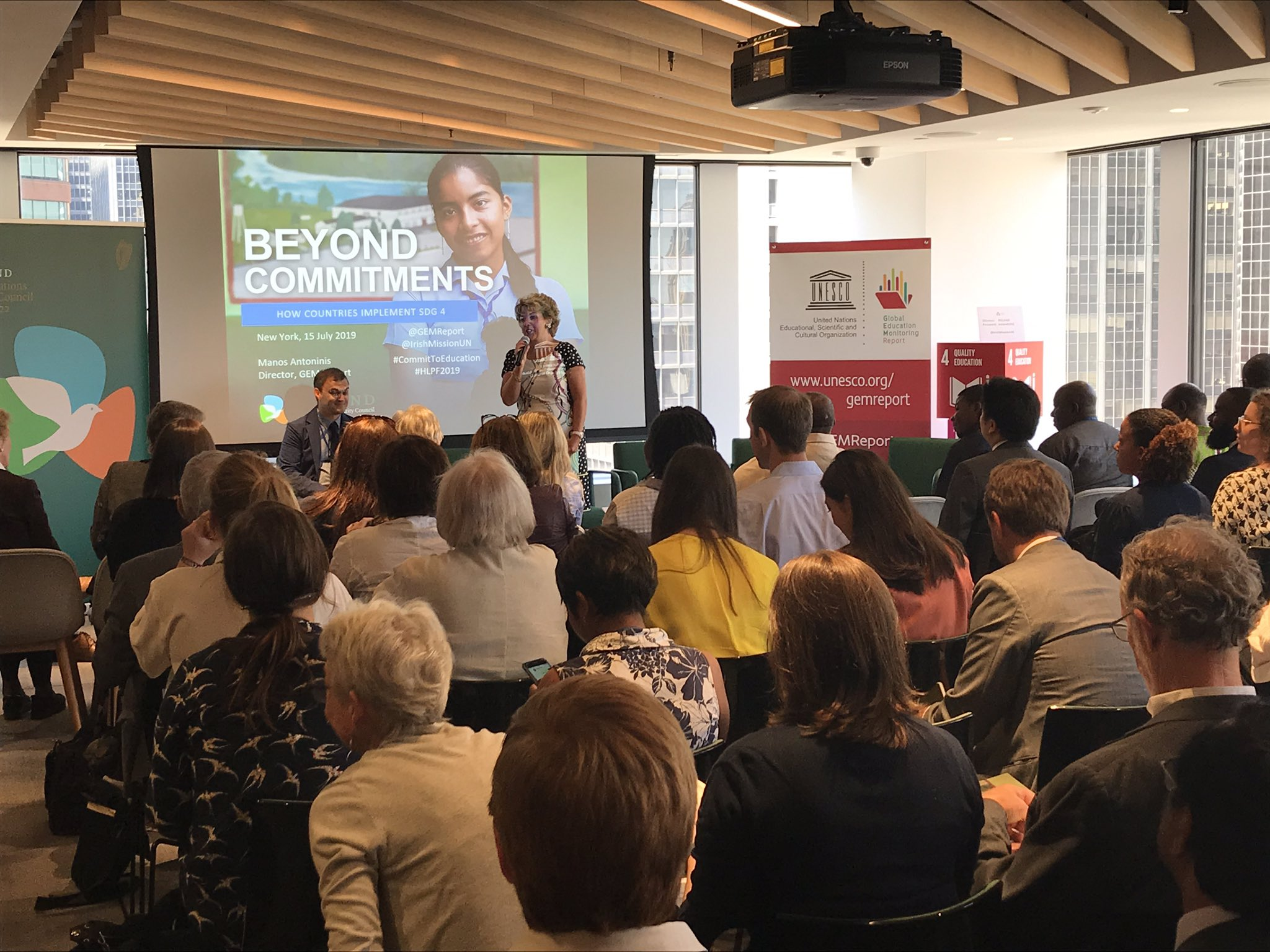 We're partnering with @UNESCO on today's #HLPF2019 event to launch a special @GEMReport on implementing #SDG4.  Full house here to engage on how we can #CommittoEducation & achieve #SDG4! #Ireland4SDGs https://t.co/aKhYAzlWjc