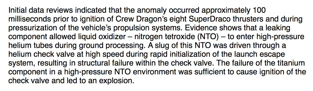 SpaceX just sent out a statement on what possibly caused the Crew Dragon explosion in April. Main tidbit here: https://t.co/p5blXIeNfq