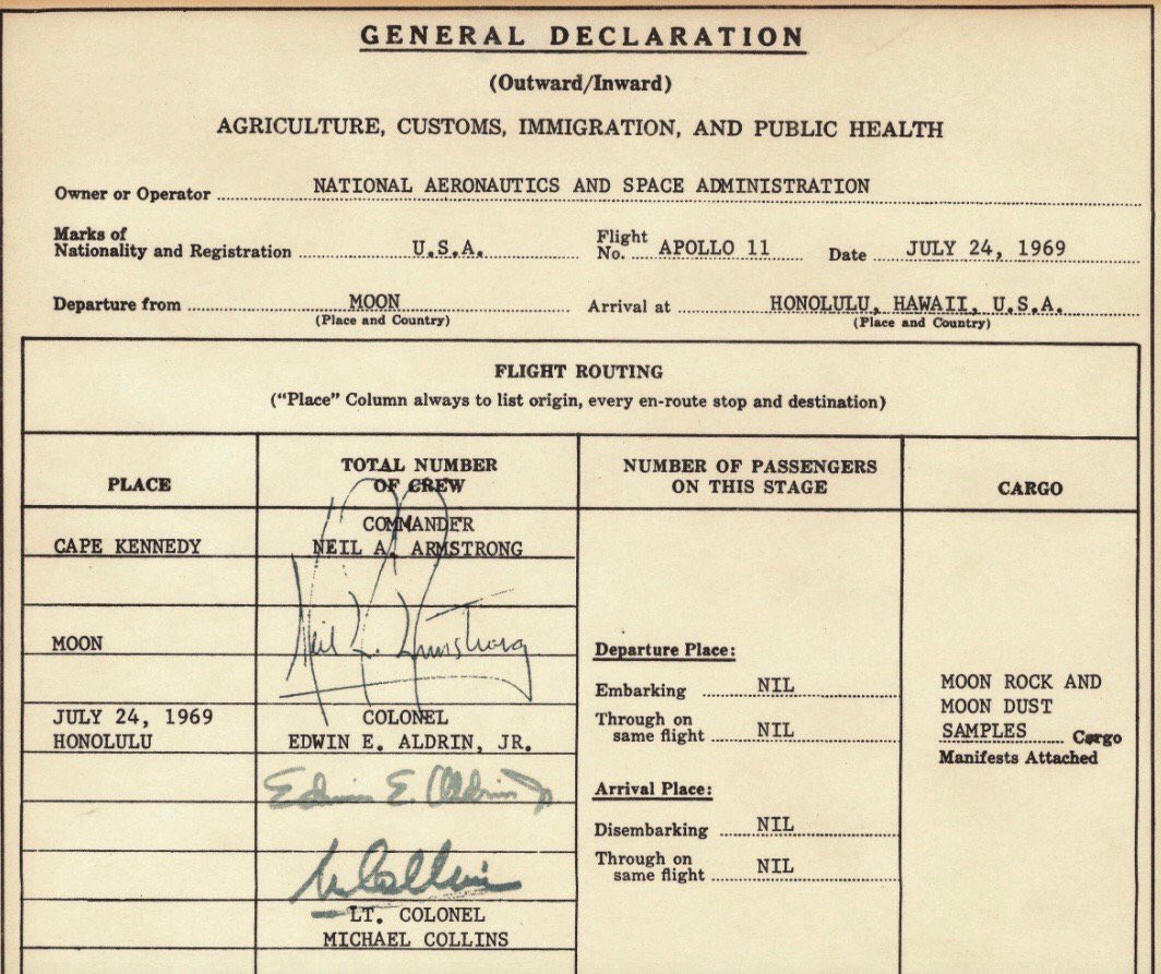 Apollo 11 U.S. Customs form after first moon landing by astronauts, 50 years ago: https://t.co/ARYxgg07pk