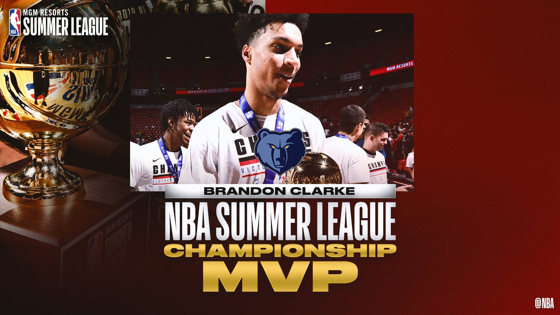 🏆👏🏆   @brandonclarke23 becomes the FIRST PLAYER to win @NBASummerLeague MVP & Championship Game MVP in the same #NBASummer! https://t.co/uoEyQdKyOc