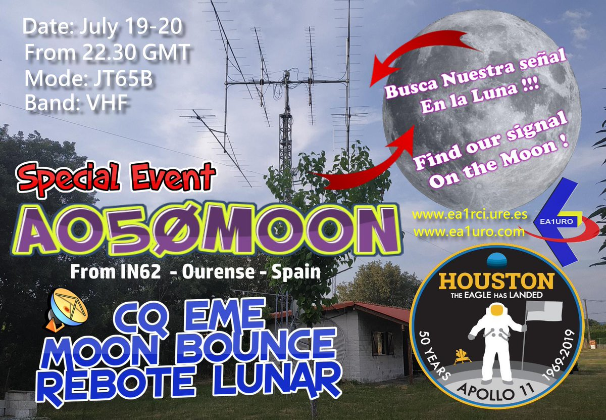 test Twitter Media - 19-20 July AO50MOON on EME  As this Saturday July 20th marks the exact date of the  Apollo XI moon landing 50 years ago, we are going to put that callsign  on EME (Moonbounce) https://t.co/zolFVOifQF #hamradio #hamr #moon https://t.co/4XMiQ58wnW