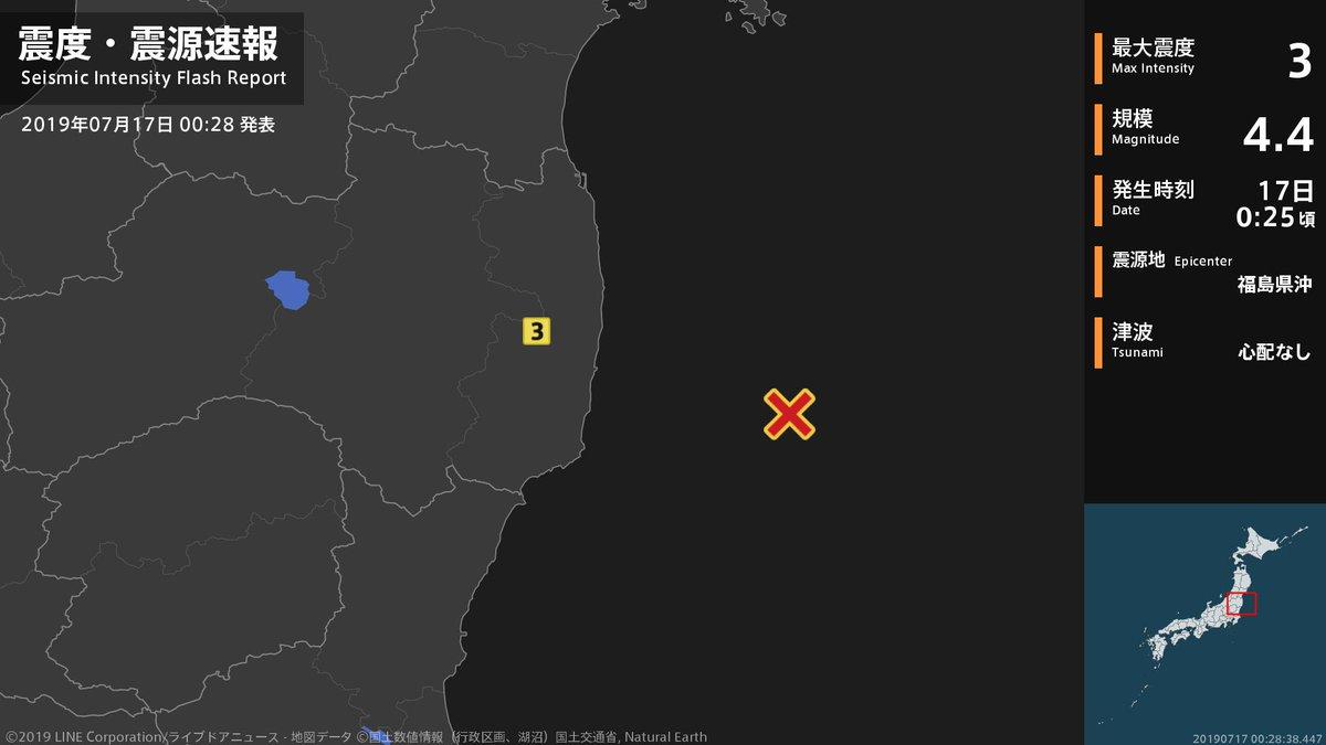 test ツイッターメディア - 【震度・震源速報 2019年7月17日】 0時25分頃、福島県沖を震源とする地震がありました。震源の深さは約40km、地震の規模はM4.4と推定されています。この地震による津波の心配はありません。 https://t.co/87Gga1D136