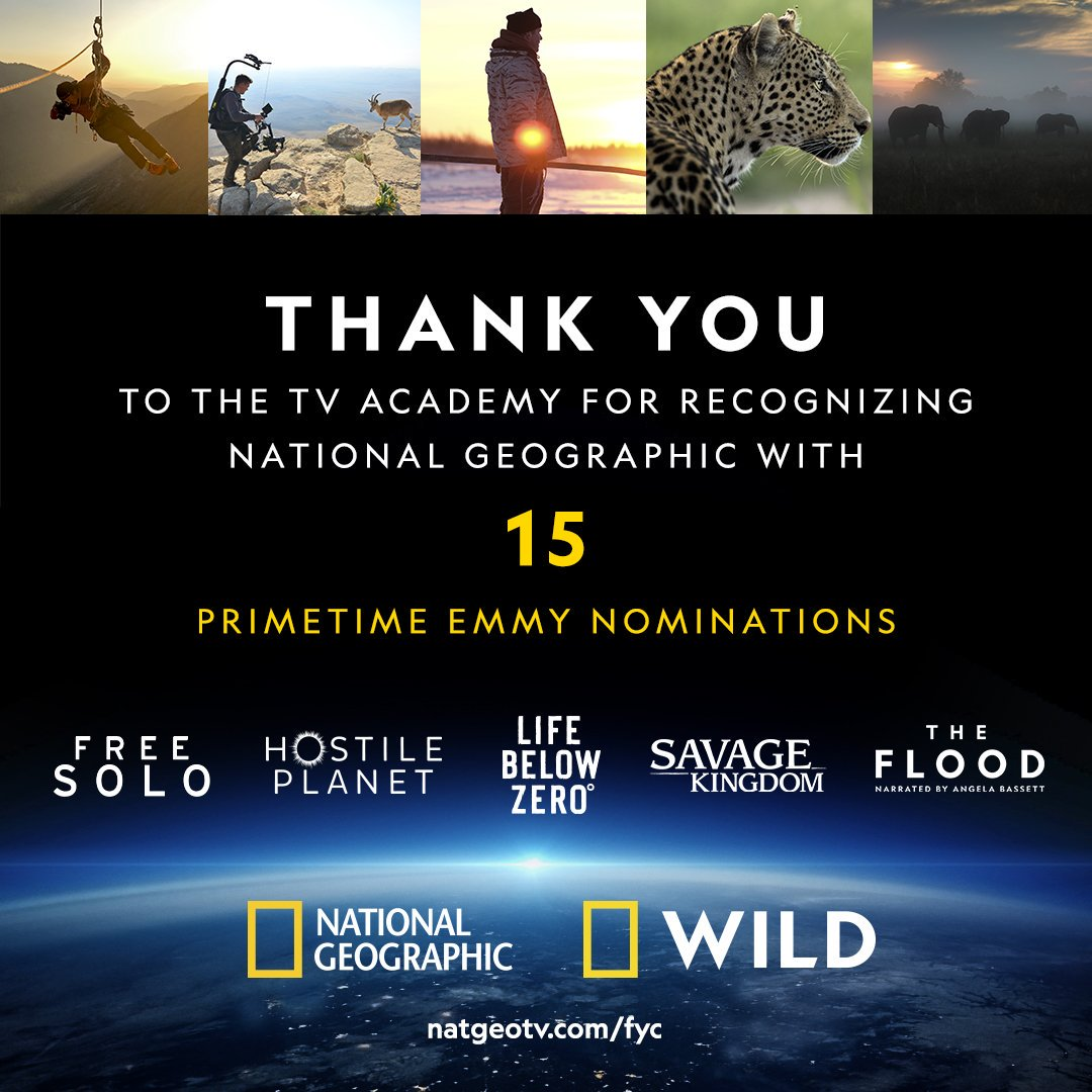 Thank you to the TV Academy, and congratulations to Free Solo, Hostile Planet, Life Below Zero, Savage Kingdom, and The Flood for their nominations! #Emmys https://t.co/eBID69G4ZL